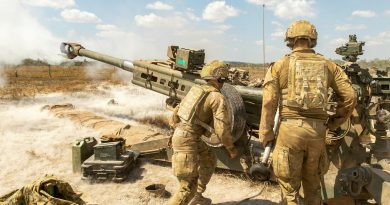 Gunners from the 101st Battery, 8th/12th Regiment, Royal Australian Artillery, fire an M777A2 Howitzer at Mount Bundey Training Area, Northern Territory, as part of an Australia-wide gun salute to mark the 150th anniversary of Australian artillery on August 1. Photo by Corporal Rodrigo Villablanca.