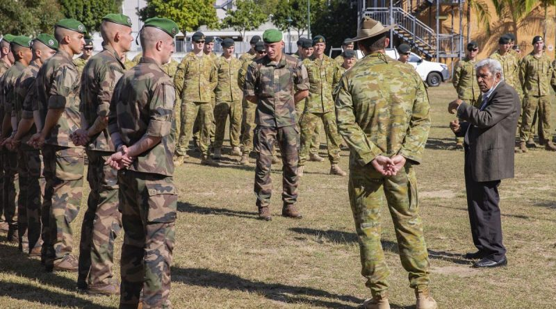Uncle Desmond Sandy talks to French soldiers and members of 6 RAR during a Welcome to Country ceremony. Story by Captain Taylor Lynch. Photo by Corporal Nicole Dorrit.