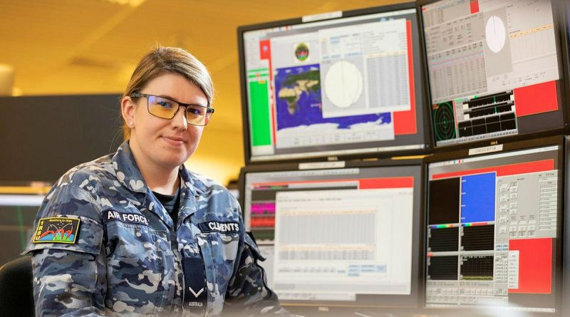 Air Surveillance Operator No. 1 Remote Sensor Unit Leading Aircraftwoman Amy Clements monitors space tracking systems at RAAF Base Edinburgh, South Australia. Story by Bettina Mears. Photo by Leading Aircraftman Stewart Gould.