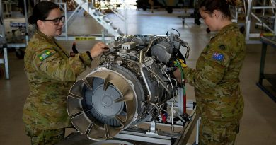 Corporal Shayna Antonio, left, and Sergeant Phillipa Finlay conduct an inspection on an MRH-90 Taipan engine at the Army Aviation Training Centre, Oakey, Queensland. Story by Captain Carolyn Barnett. Photo by Mary McKenzie.