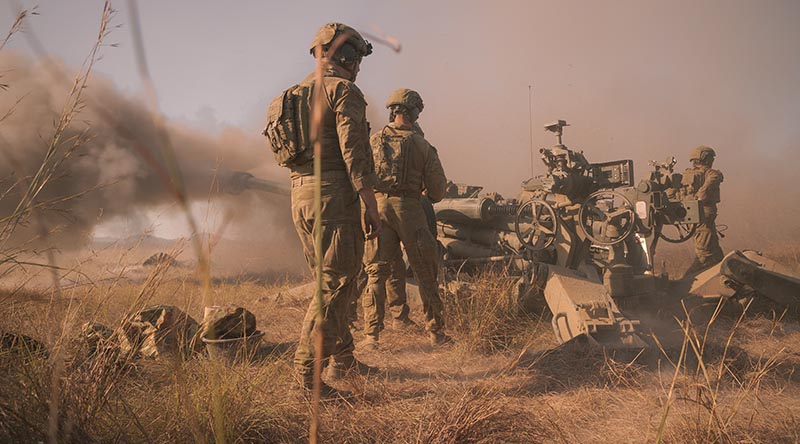 Soldiers from the Australian Army's 1st Regiment, Royal Australian Artillery, engage a target with M777 Howitzer during a firepower demonstration at Shoalwater Bay Training Area, Queensland, as part of Exercise Talisman Sabre 2021. Photo by Corporal Madhur Chitnis.