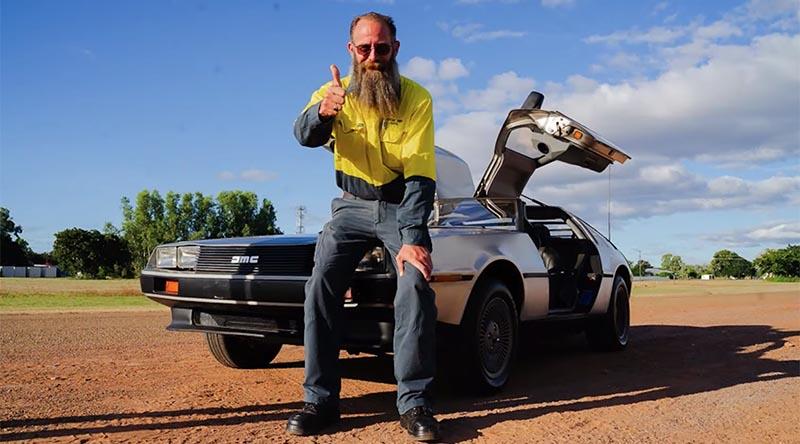 New Delorean owner William in Croydon, Queensland, shows his appreciation for Classics for a Cause.