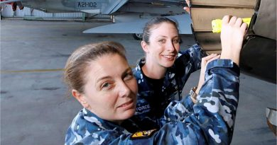 Wing Commander Shannan Forrest, left, in a file photo discussing the engineering characteristics of the F/A-18A Hornet engine exhausts. Story by Wing Commander Jaimie Abbott. Photo by Sergeant Rob Mitchell.