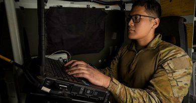 Gunner Akbar Joeharris, from the 4th Regiment, Royal Australian Artillery, monitors the Advanced Field Artillery Tactical Data System inside a command post Bushmaster vehicle during Exercise Talisman Sabre. Story by Warrant Officer Class 2 Max Bree. Photo by Corporal Jarrod McAneney.