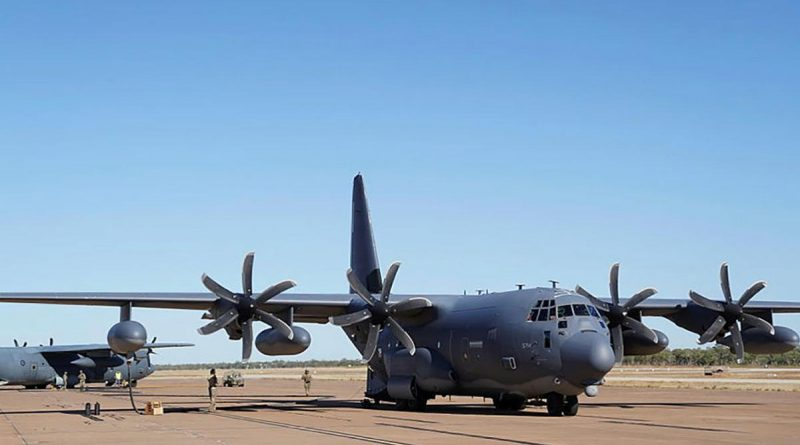 A Royal Australian Air Force C-130J Hercules, left, is refuelled from a U.S. MC-130J Air Commando II during a forward area refuelling point training scenario at RAAF Base Tindal during Exercise Talisman Sabre 2021. Story by Eamon Hamilton and Flight Lieutenant Nick O'Connor. Photo by 1st Lt. Joshua Thompson.