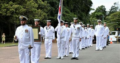 Commanding Officer of HMAS Paluma Lieutenant Commander Craig Hamilton and crew prepare to parade for their final Freedom of Entry through the ship's namesake town of Paluma, North Queensland. Story by Ken Wilson and Lieutenant Jessica Craig.