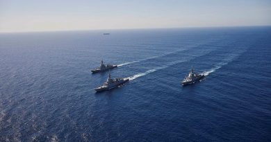 HMA Ships Hobart, Brisbane and Sydney conduct officer-of-the-watch manoeuvres in the Eastern Australian Exercise Area. Photo by Peter Bee.