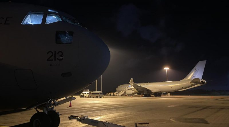 The C-17A Globemaster, from No. 36 Squadron, being prepared before leaving Perth Airport. Story by Sarah Collins.