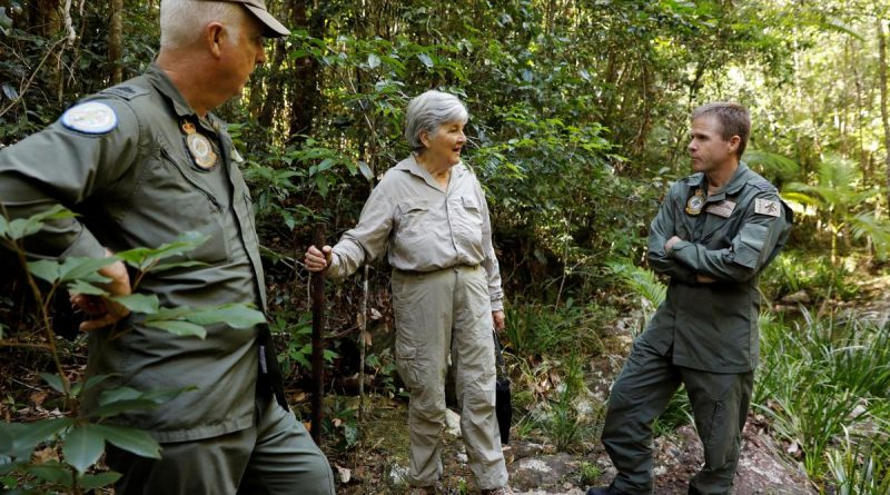 Historian Lynette Silver visits the jungle training area of Air Force's Combat Survival Training School with instructor Warrant Officer Shane Grist, left, and Commanding Officer Squadron Leader Simon Longley. Story and photo by Corporal Veronica O'Hara.