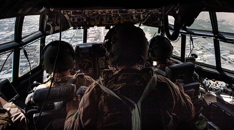 An RNZAF C130 flies into Kabul to assist in the evacuation of foreign nationals. NZDF photo.