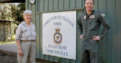 Commanding Officer Combat Survival Training School Squadron Leader Simon Longley with historian Lynette Silver, who has researched the World War II Sandakan death marches. Story by Corporal Veronica O'Hara. Photo by Corporal Veronica O'Hara.