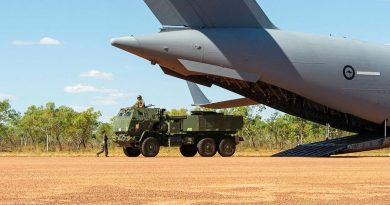 A United States Marine Corps High Mobility Artillery Rocket System is offloaded from a Royal Australian Air Force Boeing C-17 Globemaster III as part of Exercise Loobye. Story by Lieutenant Gordon Carr-Gregg. Photo by Captain Carla Armenti.