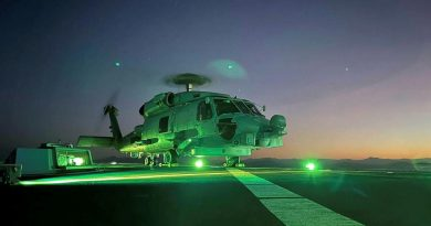 HMAS Parramatta's embarked MH-60R prepares to launch from the flight deck during Exercise Talisman Sabre. Story by Lieutenant Sarah Rohweder.