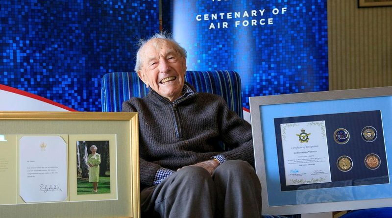 Alan Hastie with an Air Force 2021 Commemorative memento in celebration of his 100th birthday. Story by Evita Ryan. Photo by Corporal Brett Sheriff.
