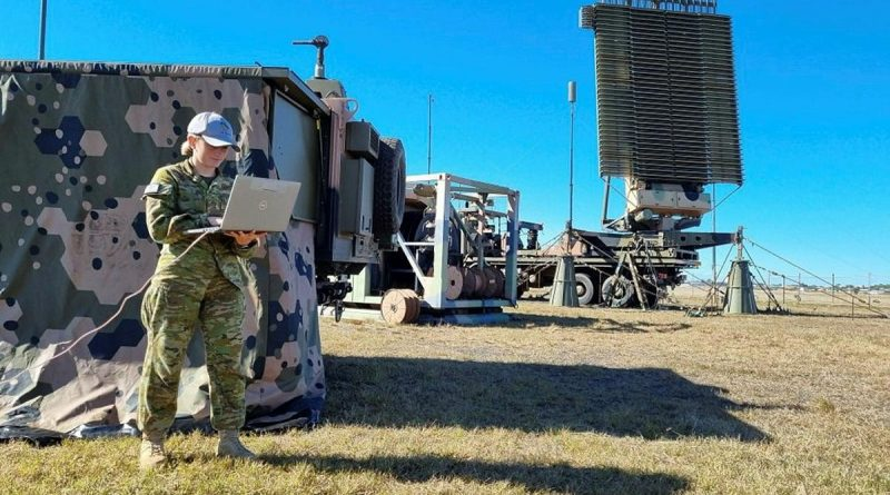 Air surveillance operator Leading Aircraftwoman Olivia Towns monitors communication systems for the No. 114 Mobile Control and Reporting Unit BlueJay system at Evans Head Memorial Airfield during Exercise Talisman Sabre. Story by Bettina Mears.