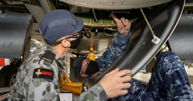 Corporal Andrew Ashbrook, right, helps avionics technician trainee Seaman William Cook to identify, recover and replace a faulty voltage regulator. Story by Flight Lieutenant Julia Ravell.