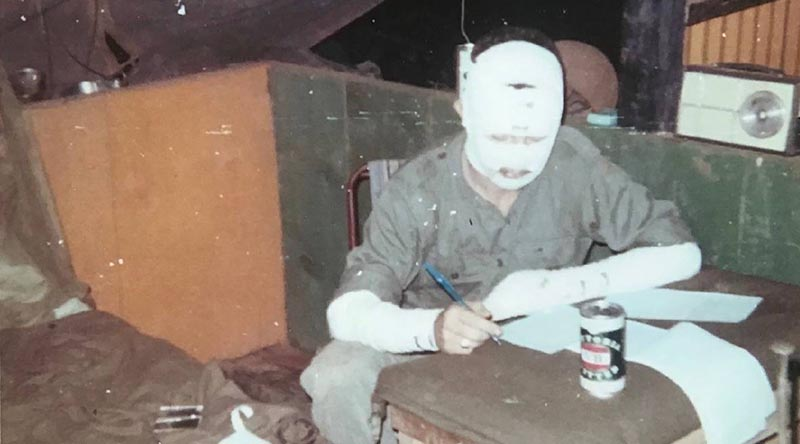 Richard Barry writing home to his father in Narrabri NSW following an explosion that occurred at Nui Dat, South Vietnam in July 1969