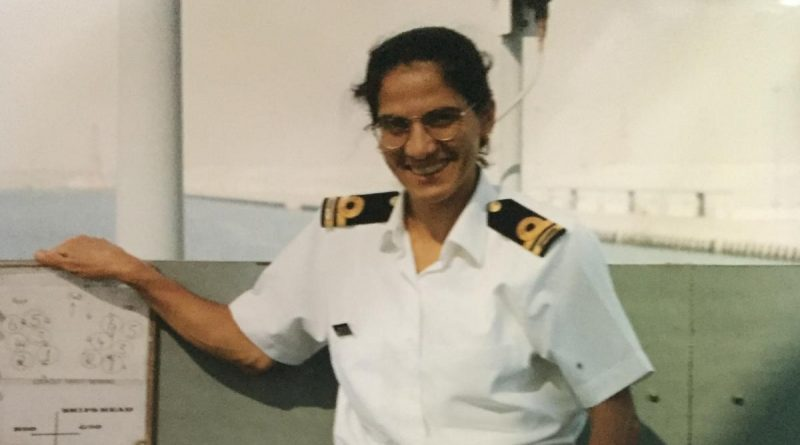 Then-Lieutenant Fatena El-Masri on board HMAS Melbourne (III) where she was the only female in her division and worked as the deputy weapons electrical engineering officer. Story by Sub Lieutenant Nancy Cotton.