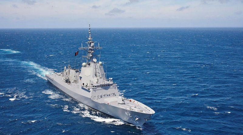 HMAS Sydney conducts manoeuvres off the South Coast of NSW late last year. Photo by Peter Beeh.