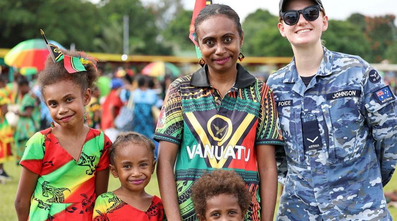 Leading Aircraftwoman Natasha Johnson, from No. 35 Squadron, mingled with locals at the Vanuatu Independence Day parade while deployed on Operation Solania. Story by Flight Lieutenant Emily Renshaw.