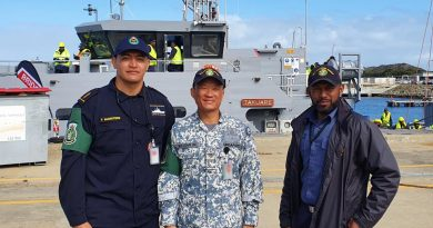 Police Constable Tehapai Marsters (Cook Islands), Warrant Officer Edwin Ong (Singapore) and Chief Petty Officer Timoci Tokaru (Fiji) on the wharf at HMAS Stirling ahead of training with the Sea Training Group - Defence Cooperation Program. Story by Sub Lieutenant Nancy Cotton.