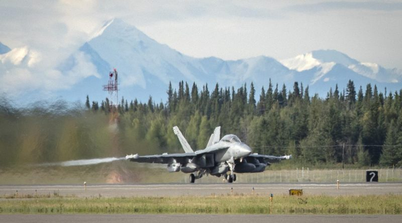 A Royal Australian Air Force EA-18G Growler, from No. 6 Squadron, taxis along the runway at Eielson Air Force Base in Alaska during the exercise. Story and photo by Flying Officer Bronwyn Marchant.