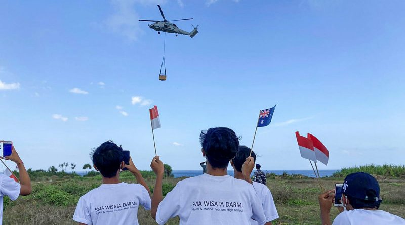 Royal Australian Navy MH60R Helicopter delivers a desalination plant to Nusa Lembongan during Indo-Pacific Endeavour 21. Story by Captain Peter March.
