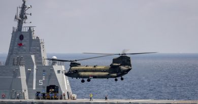 A Boeing CH-47 Chinook, from the Republic of Singapore Air Force, conducts training with HMAS Canberra during Indo-Pacific Endeavour 21. Story by Captain Peter March. Photo by Seaman Leo Baumgartner.