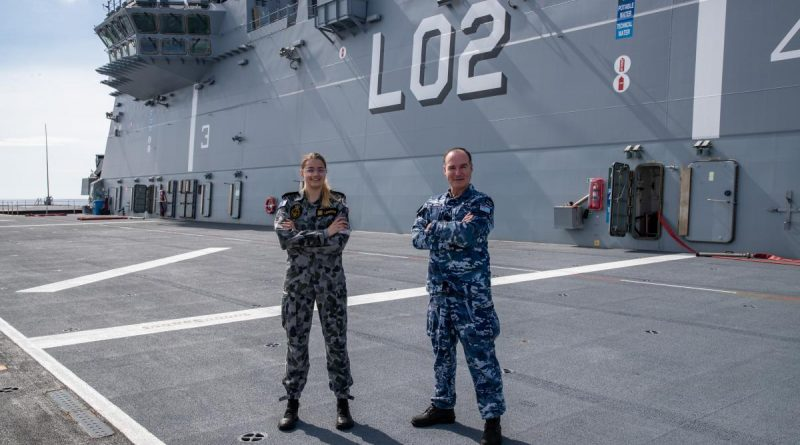 Able Seaman Ashley Lehmann and her stepfather Squadron Leader Joey Slater are working together on board HMAS Canberra during Indo-Pacific Endeavour. Story by Lieutenant Alicia Morris, Royal Canadian Navy. Photo by Leading Seaman Nadav Harel.