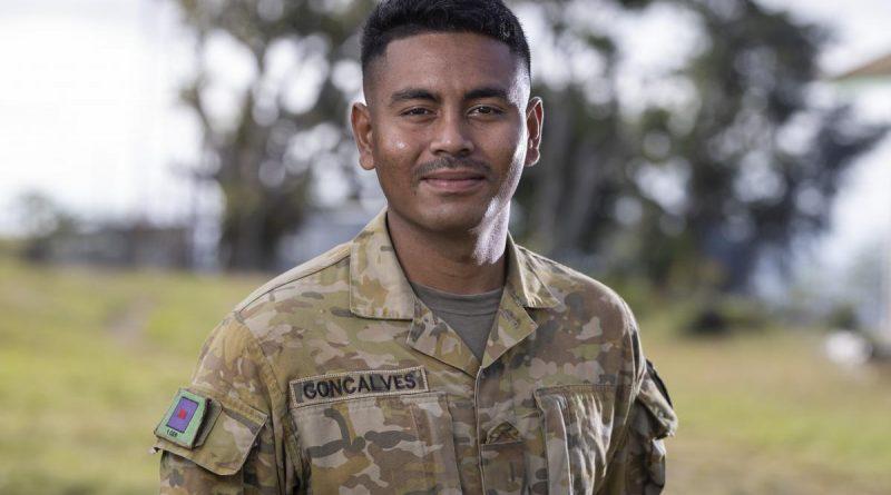 Private Noel Goncalves at the Tilomar Border Outpost in Timor-Leste during his deployed on Exercise Hari'i Hamutuk 2021. Story and photo by Leading Seaman Jarrod Mulvihill.