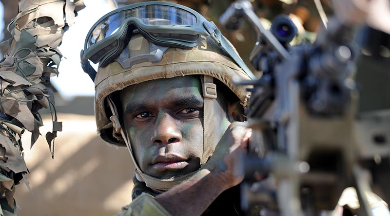 Australian Army soldier Private Clayton Baird from 51st Battalion, Far North Queensland Regiment, ready for a vehicle-mounted patrol during a training exercise in the Townsville Field Training Area. Photo by Major Al Green.