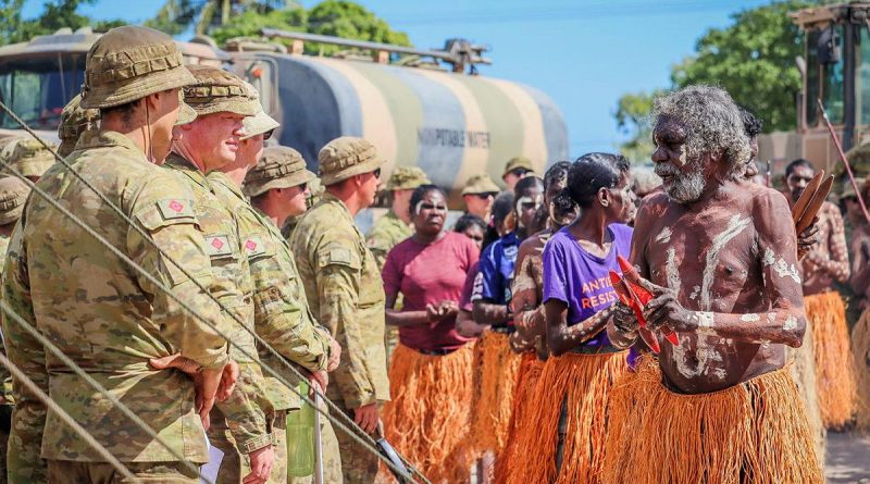 Members of the Pormpuraaw Arts Centre Dance Group greet the Army contingent during the AACAP 2021 opening ceremony. Story by Captain Evita Ryan.