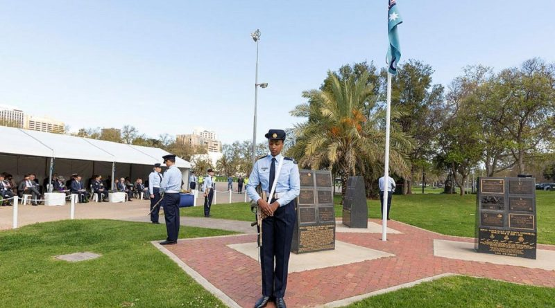 Air surveillance operators, from No. 1 Remote Sensor Unit, RAAF Base Edinburgh, make up the catafalque party for the Battle of Britain 2021 Commemoration held at Torrens Parade Ground, Adelaide. Story by Squadron Leader Bruce Chalmers. Photo by Leading Aircraftman Stewart Gould.