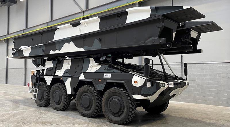 A Boxer-based bridge layer by KMW in collaboration with British military bridge builder WFEL. Image supplied.