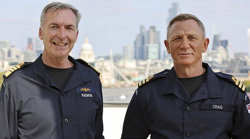 Admiral Sir Tony Radakin and Commander Daniel Craig in London. Royal Navy photo by LPhot Lee Blease.