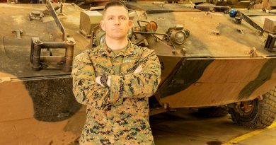 Gunnery Sergeant Ryan Accornero is one of two US marines awarded a Navy and Marine Corps Achievement Medal for saving houses from a fire at Puckapunyal in December last year. Story by Major Carrie Robards.