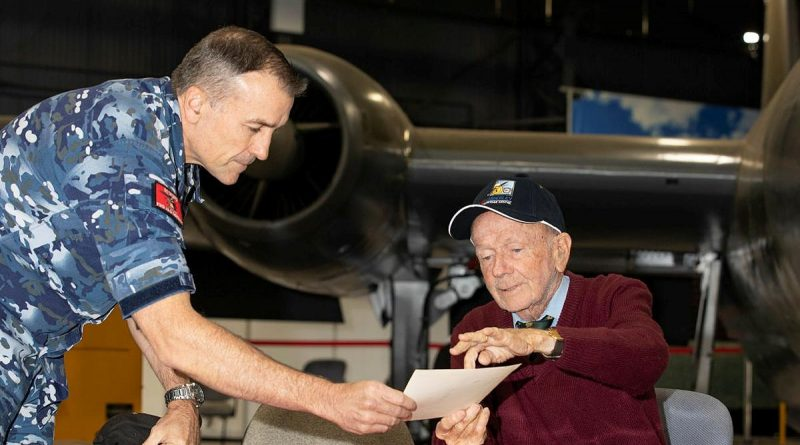 """Bryan """"Mick"""" McShane, right, shares some of his memories of the Air Force with Warrant Officer Russell Beck at the RAAF Base Amberley Aviation Heritage Centre. Story by Flying Officer Robert Hodgson. Photo by Corporal Jesse Kane."""