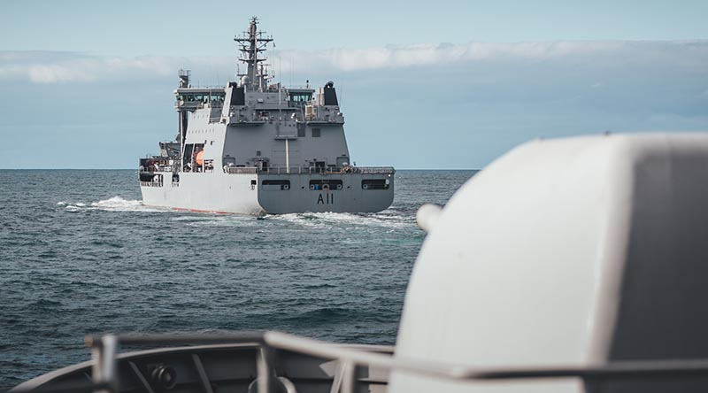 Royal New Zealand Navy ships HMNZS Te Kaha and HMNZS Aotearoa conduct a series of trials and readiness checks in the Hauraki Gulf prior to deploying this week. NZDF photo.