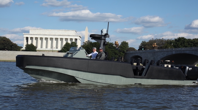 Australia's The Whiskey Project unveiled their latest watercraft – the WHISKEY Multi Mission Reconnaissance Craft (WHISKEY MMRC) – in Washington DC on 1 October 2021. Photo supplied.