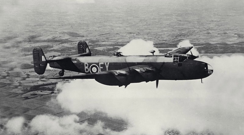 A Halifax B Mark II Series 1A of No. 78 Squadron RAF based at RAF Breighton, Yorkshire, UK, circa 1941. Photo by Flying Officer G. Woodbine, Royal Air Force –from Imperial War Museums collection, via Wikimedia.