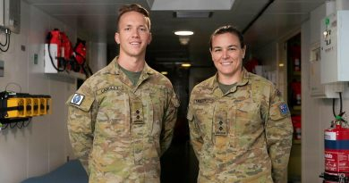 Army radiographer Lieutenant John Langley and physiotherapist Lieutenant Alison Muller in the health centre in HMAS Canberra during Indo-Pacific Endeavour 21. Story by Captain Peter March. Photo by Leading Seaman Nadav Harel.
