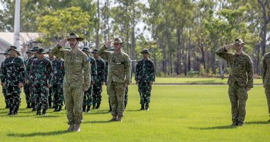 Commanding Officer of the 5th Battalion, Royal Australian Regiment, Lieutenant Colonel Mathew Dirago salutes official guests during the opening ceremony for Exercise Wirra Jaya 2021 at Robertson Barracks, NT. Story by Captain Carla Armenti. Photo by Corporal Rodrigo Villablanca.