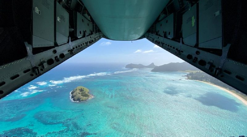 The view of Lord Howe Island from the back of an Air Force C-27J Spartan aircraft. Story and photo by Flying Officer Lily Lancaster.