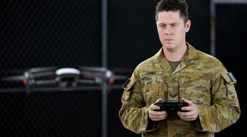 Corporal Lachlan Jones from the 1st Battalion, Royal Australian Regiment, flies a DJI Mavic 2 at Lavarack Barracks, Townsville. Story by Captain Lily Charles. Photo by Corporal Brodie Cross.