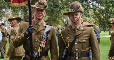 Warrant Officer Class 2 Luke Woolfe, left, and his son Trooper James Woolfe. Story by Captain Sandra Seman-Bourke.