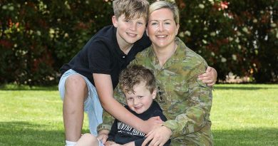 Captain Laura McCarthy is serving part-time under Service Category 3, and is pictured with her children at home. Story by Jessica Cameron. Photo by Corporal Brenton Kwaterski.