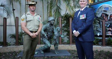 Corporal Ty Fergus, of the 6th Engineer Support Regiment, who helped build the Afghanistan War Memorial Garden in Brisbane, with 42 for 42 Board President and former combat engineer, Sean Mulqueen, at the memorial's opening. Story by Captain Evita Ryan.