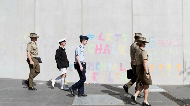 A 'Let's Chalk about Mental Health' activity was held at Adams Auditorium, ADFA, in 2019 in support of World Mental Health Day. Photo by Jay Cronan.