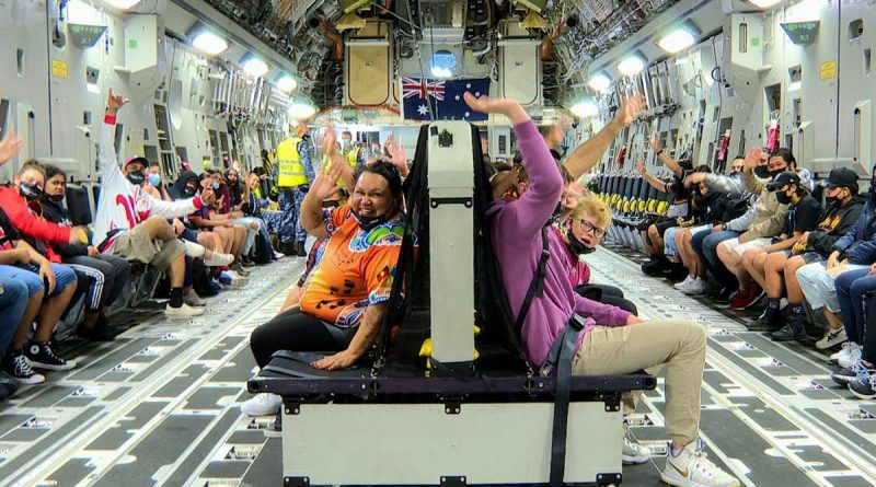 Ipswich Indigenous community members and children inside a C-17A Globemaster III for a flight from RAAF Base Amberley. Story by Flying Officer Lily Lancaster. Photo by Sergeant Peter Borys.
