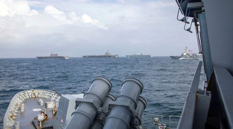 Ships and aircraft from the navies of Australia, Japan, the United Kingdom and the United States participate in training in the Indian Ocean during the Maritime Partnership Exercise. Photo by Leading Seaman Ernesto Sanchez.